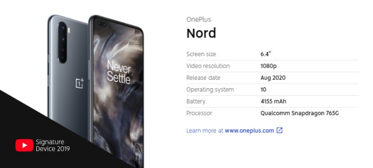 OnePlus Nord YouTube Signature Devices