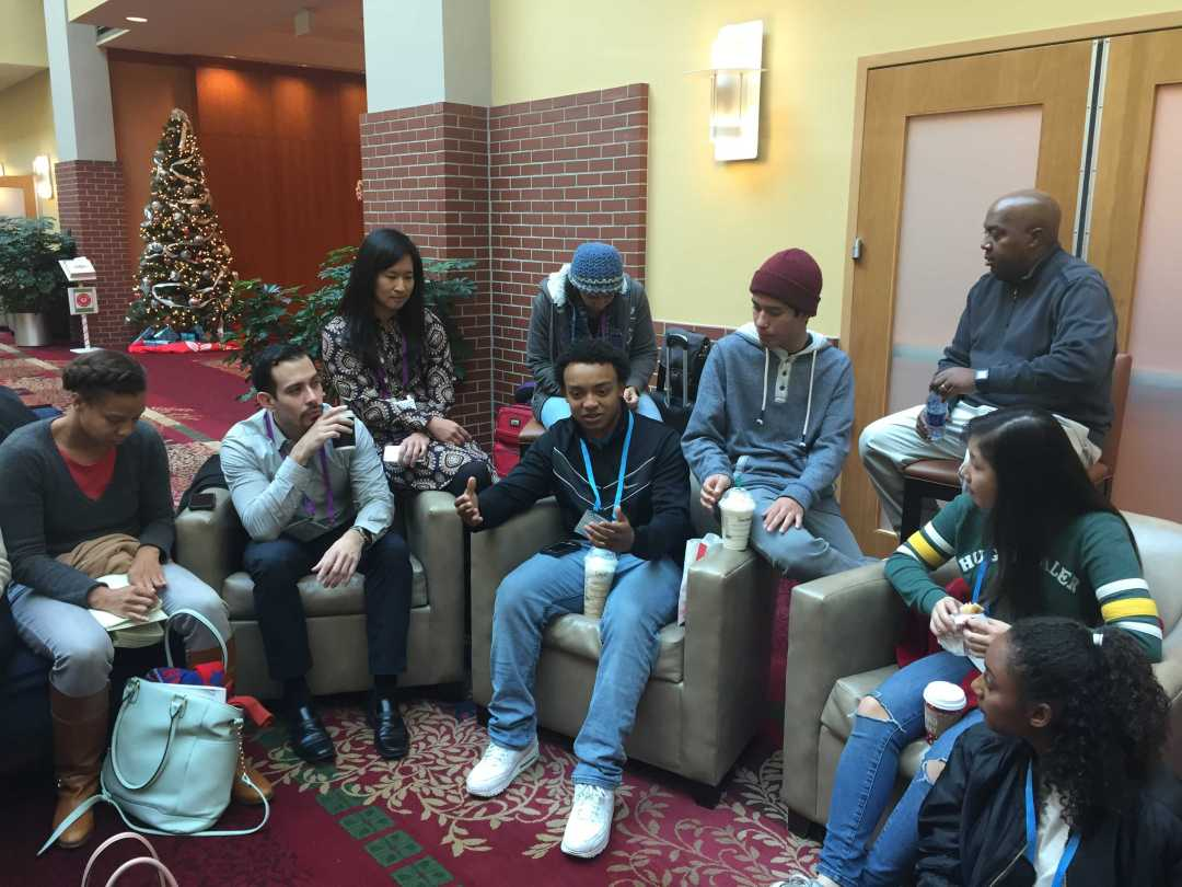 Students meet up after a day at the People of Color Conference to discuss Credit: Steve Chae/SPECTRUM