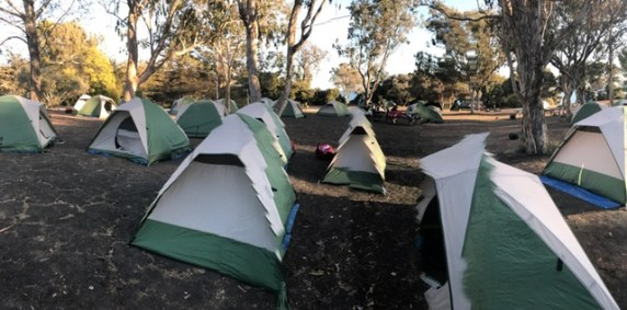 Students were split into two big groups to camp out by the ocean one day. Credit: Khyra Stiner '21