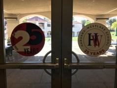 Stickers on the doors of the hallways in Hazy