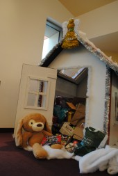 Toy house in library filled with donations Credit: Caitlin Chung '20/SPECTRUM