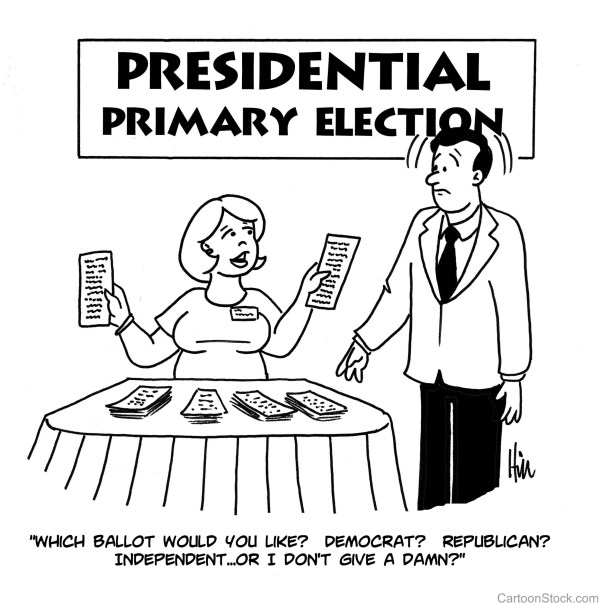 "Cartoon of a female poll-worker asking ""Which ballot would you like? Democrat? Republican? Independent ...Or I don't give a damn?"""