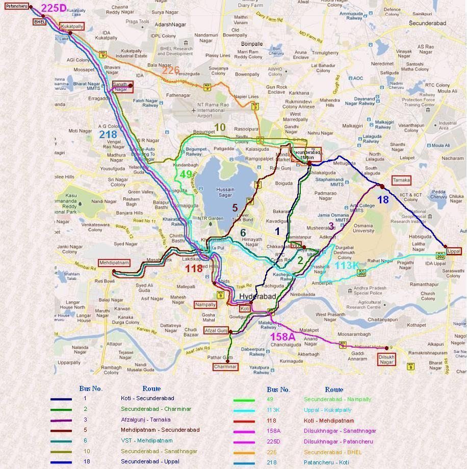 Route Map Hyderabad Major Bus Routes of TSRTC in Twin Cities | Hyderabad India Online