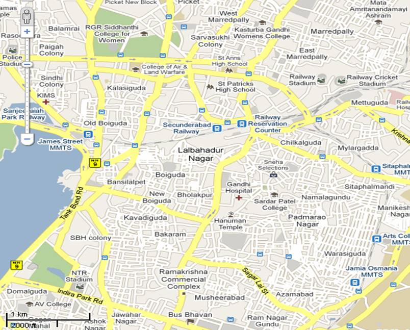 Secunderabad Central Map Hyderabad India Online