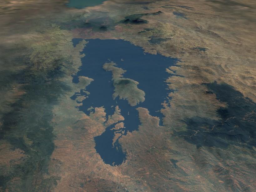 NASA Satellite photo of Lake Kivu, in Central Africa