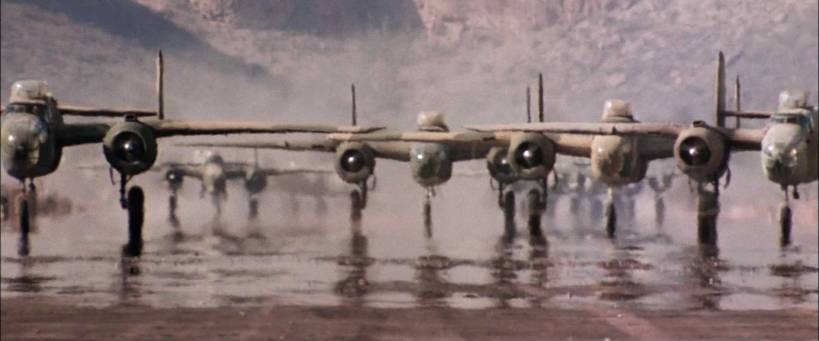 World War II Bombers line up for Take off in Italy