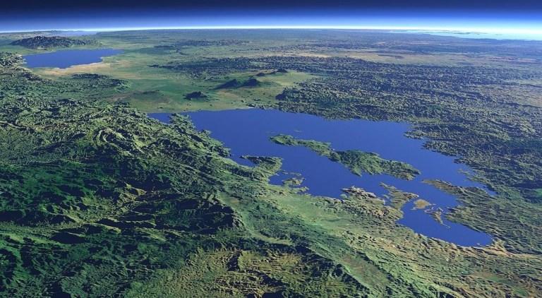 Climate Change: Lake Kivu 3D Satellite image by Christoph Hormann