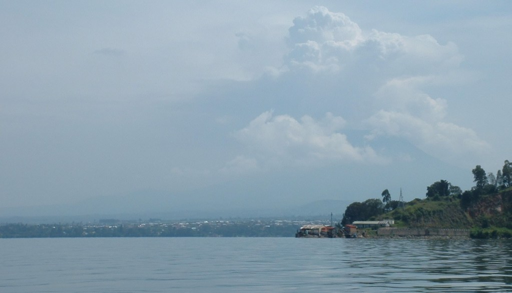 View of Lake Kivu, City of Goma and Mt Nyiragongo volcano