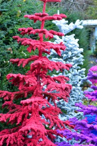 colorful flocked christmas trees