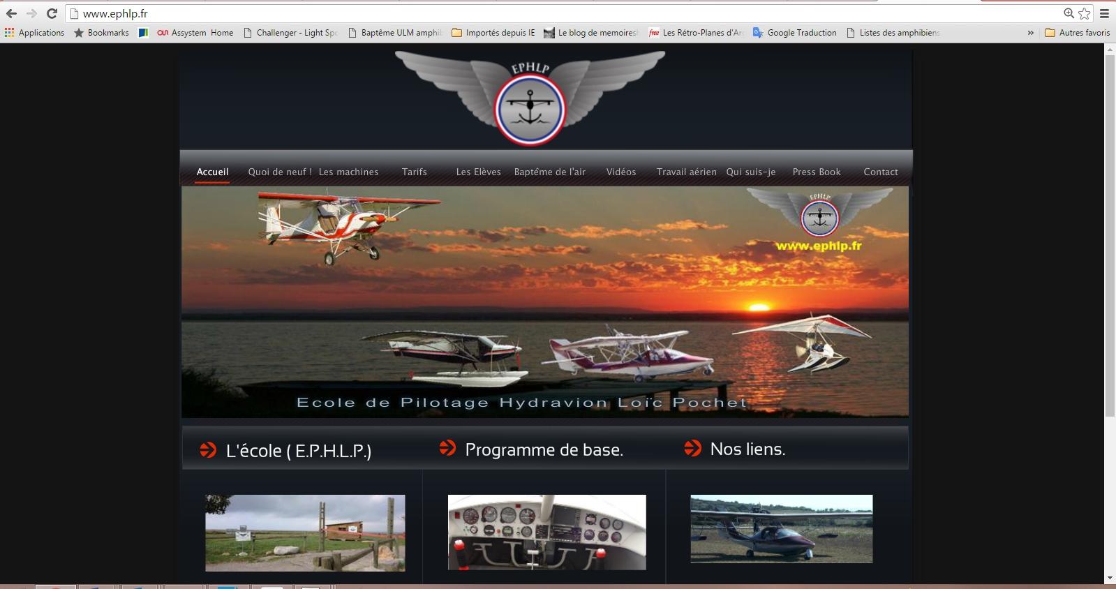 page de presentation ecole de pilotage EPHLP