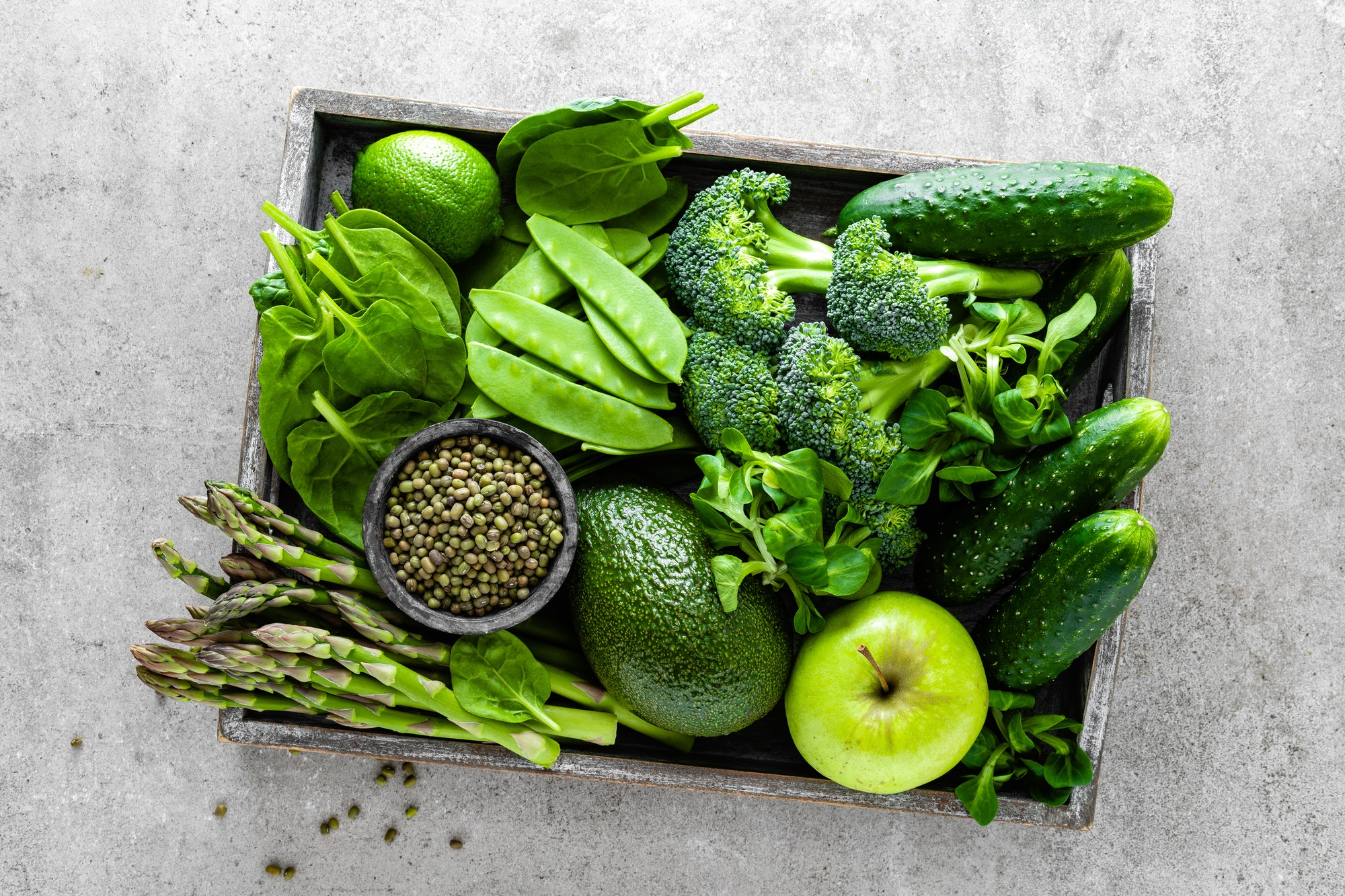 Healthy green food selection