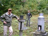 Kevin and Charley at rain gauge clearing at Coweeta (G. Schoenholtz).