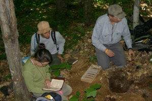 REU students (Tyler and Patricia) receiving some soils training from the State Soil Scientist.