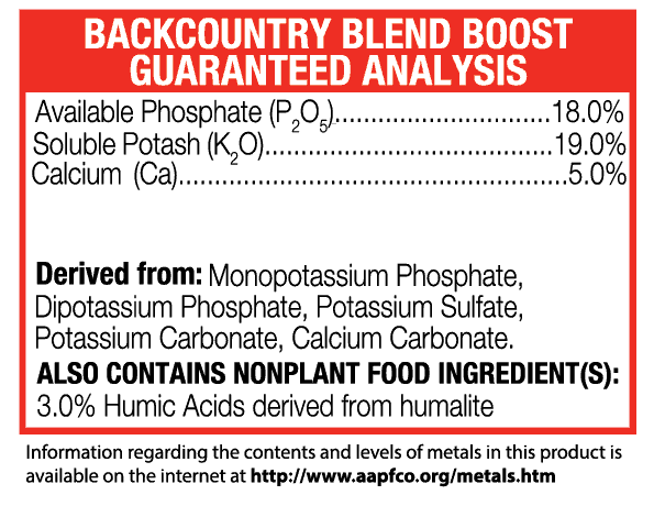 Green-Planet-Nutrients+Backcountry-Boost+guaranteed analysis+additive+supplement+Plant-Nutrients