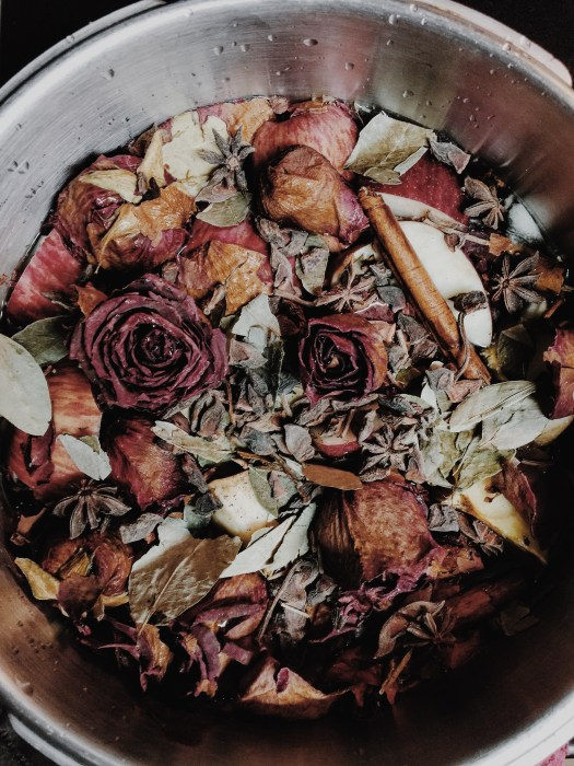 Sweet Herbal Bath boiling on the stove