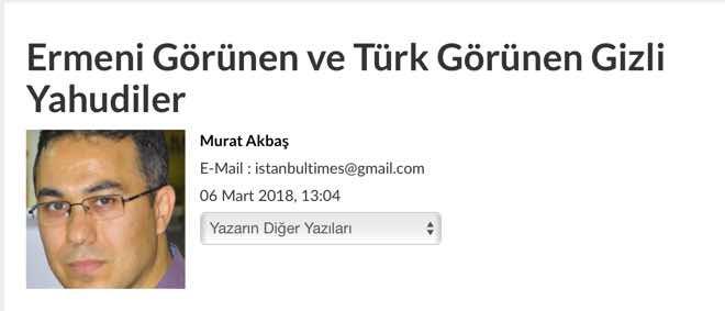 Ermeni Görünen Ve Türk Görünen Gizli Yahudiler Hyetert