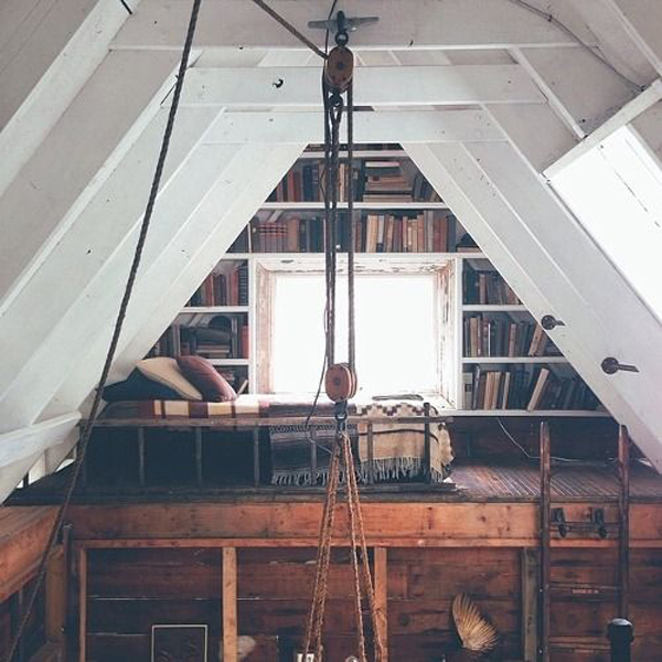 Cozy hygge attic library