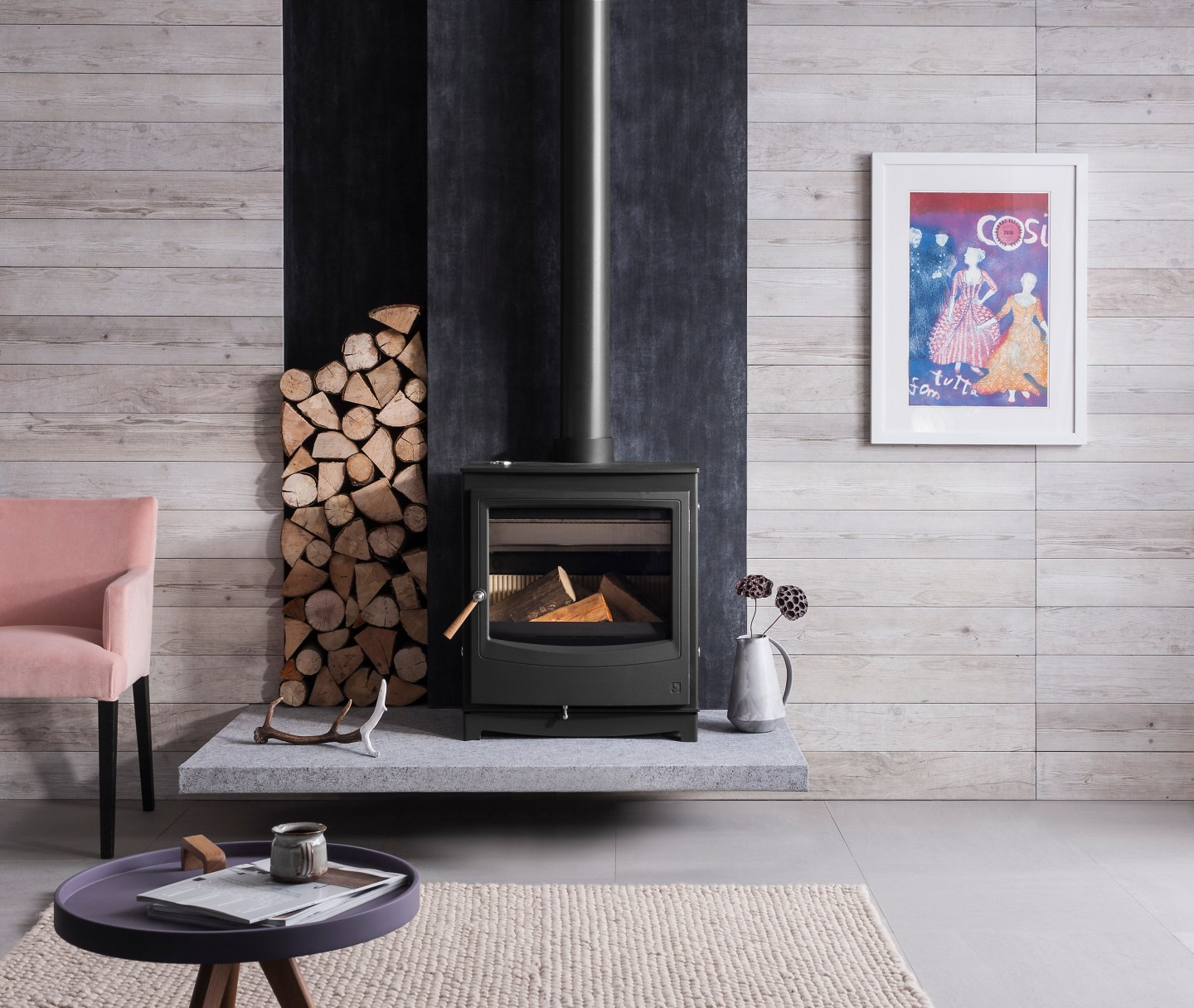 Hygge living with wood burner