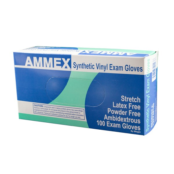 AMMEX Ivory Stretch Vinyl Exam Latex Free Disposable Gloves (Case of 1000)