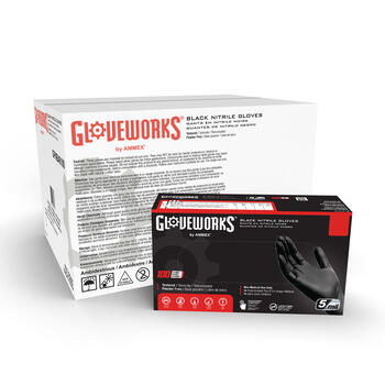 Gloveworks Black Nitrile Industrial Latex-Free Disposable Gloves (Case of 1000)