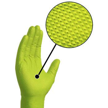 HD Green Nitrile Gloves - Diamond Textured Hand