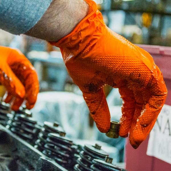 HD Orange Nitrile Gloves - Industrial Grade