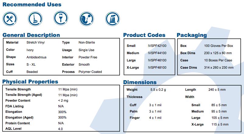 Ivory Stretch Vinyl Exam Gloves Info
