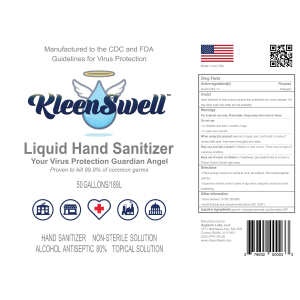 KleenSwell™ Liquid Hand Sanitizer, 50-Gallon Label