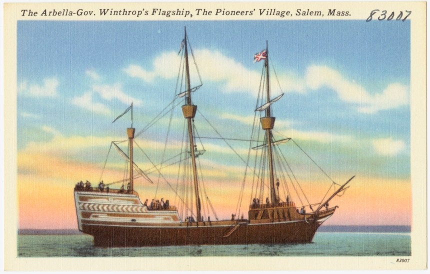 The Arbella -- Gov. Winthrop's Flagship, The Pioneers' Village, Salem, Massachusetts (Created/Published: Tichnor Bros. Inc., Boston, postcard issued circa 1930-1945)