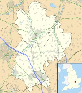 This map shows the location of Bedfordshire, England.