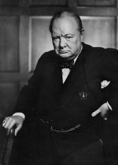 This famous photo of Churchill was taken after his speech to the Parliament of Canada in December 1941