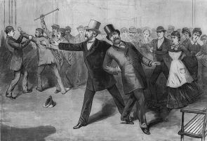 "President James A. Garfield with Secretary of State James G. Blaine after being shot by Charles Guiteau, as depicted in a period engraving from ""Frank Leslie's Illustrated Newspaper"""