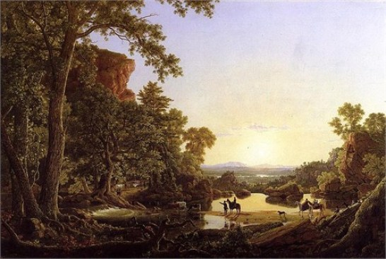 """""""Hooker and Company Journeying through the Wilderness from Plymouth [sic] to Hartford, in 1636"""" painting by Frederic Edwin Church (1846), Wadsworth Atheneum, Connecticut"""