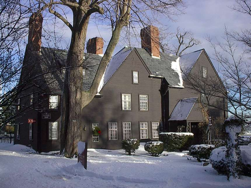 The House of the Seven Gables in the snow. The novel, written beginning in mid-1850 by American author Nathaniel Hawthorne and published in April 1851, follows a New England family and their ancestral home. In the book, Hawthorne explores themes of guilt, retribution, and atonement and colors the tale with suggestions of the supernatural and witchcraft. The setting for the book was inspired by a gabled house in Salem belonging to Hawthorne's cousin Susanna Ingersoll and by ancestors of Hawthorne who had played a part in the Salem Witch Trials of 1692. (photo credit: Richard Scott)