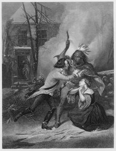 Cherry Valley massacre, the fate of Jane Wells, one of thirty non-combatants killed during the massacre. Engraver: Thomas Phillibrown from the original picture by Alonzo Chappel (1828-1887).