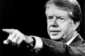 President Jimmy Carter fields a question at a news conference in Washington, 10 Oct 1978.