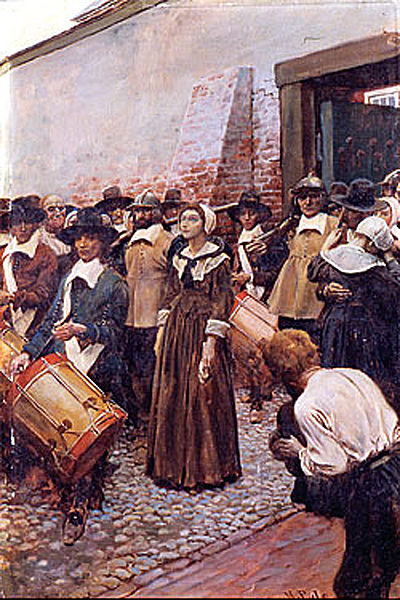 Mary Dyer being led to the gallows in Boston, 1660. Painted by Howard Pyle (1853-1911) in about 1905. The picutre was published in McClure's in 1907.