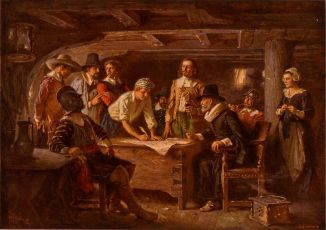 """Two of our ancestors (John Alden and William Mullins) were signers of the """"Mayflower Compact"""" of 1620, the first governing document of the Plymouth Colony of Massachusetts."""