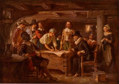 "Two of our ancestors (John Alden and William Mullins) were signers of the ""Mayflower Compact"" of 1620, the first governing document of the Plymouth Colony of Massachusetts."