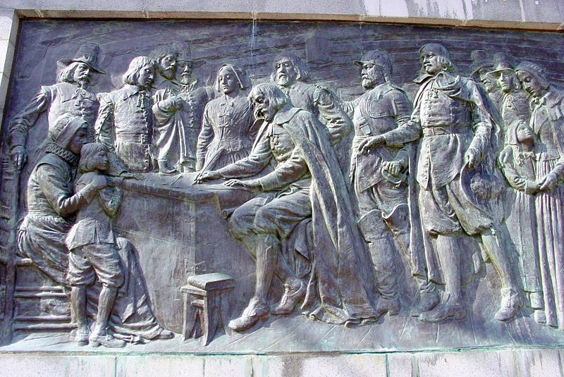 Memorial Bas Relief of the Signing of the Compact on Bradford Street in Provincetown, Massachusetts, below the Pilgrim Monument