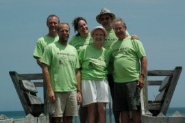 "Myrtle, Beach, South Carolina - July 2007. Family Reunion (the so-called ""H-Bom Blast""). Left to right: Tor Hylbom, Matt Hylbom, Amy (Hylbom) Shook, Penny Hylbom, Paul Hylbom, Marty Hylbom. Commemorative t-shirts feature an unfortunate color choice."