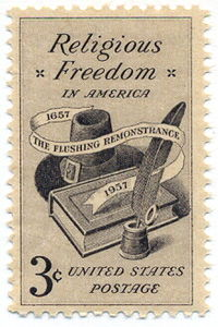 A U.S. postage stamp commemorating religious freedom and the 300th anniversity of the Flushing Remonstrance