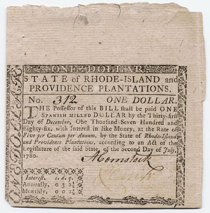 The use of paper money was a contentious issue during Greene's administrations. This bill was used after the Revolution.