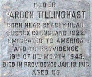 Inscription on the Tillinghast Memorial in Providence Rhode Island