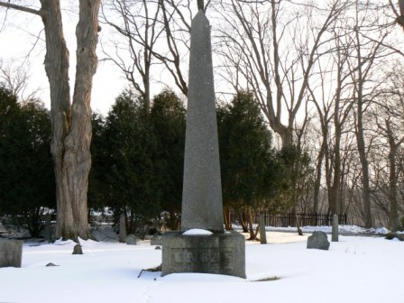 "The Uncas monument sits in a small burial ground on Sachem Street in Norwich, Connecticut. The square base of the monument was dedicated in 1833, with President Andrew Jackson participating in the dedication ceremonies. The granite column was dedicated nine years later in 1842, after organizers had resolved several problems with the monument, including quarrying granite that met their specifications and reaching a consensus on the proper spelling of ""Uncas."""