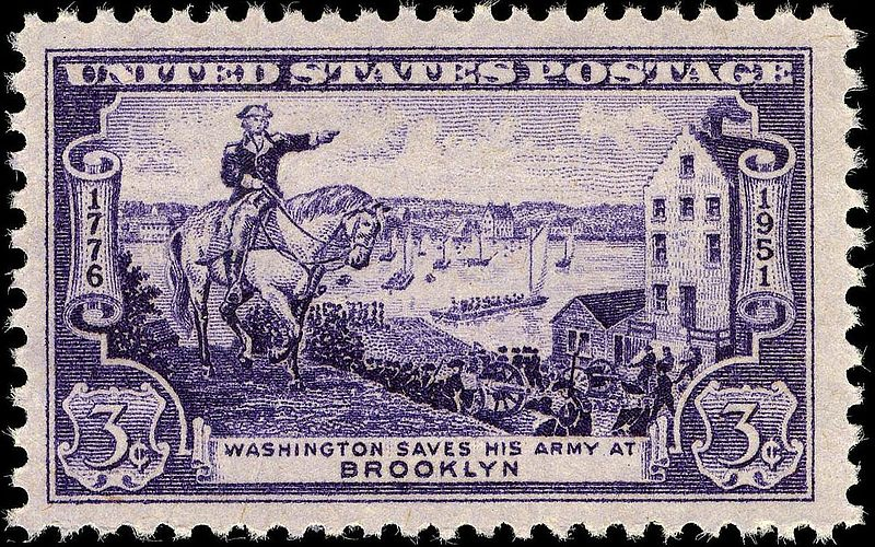 Washington evacuating the Coninental Army -  175th Anniversary Issue of 1951. Flat bottom ferry boats in East River are depicted in the background.