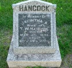 Grave marker of Jacintha Ann (Pollard) Hancock (1832-1894), my 3rd g-grandmother - photo credit: Alma Darling