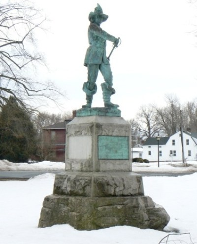 The John Mason statue was moved from Mystic to Windsor, Connecticut