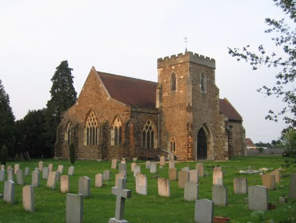 St Andrew's, Langford, Bedfordshire. A 14th century building, unusual in the fact that the tower is on the south side of the church; the original stained glass is still in some of the windows.