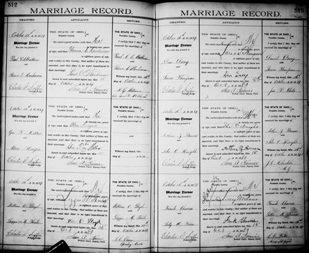 Marriage Record of Paul Watkins and Florence E. Henderson (top left)
